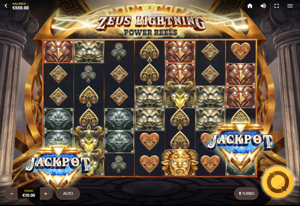 Джекпот в Zeus Lightning: Power Reels